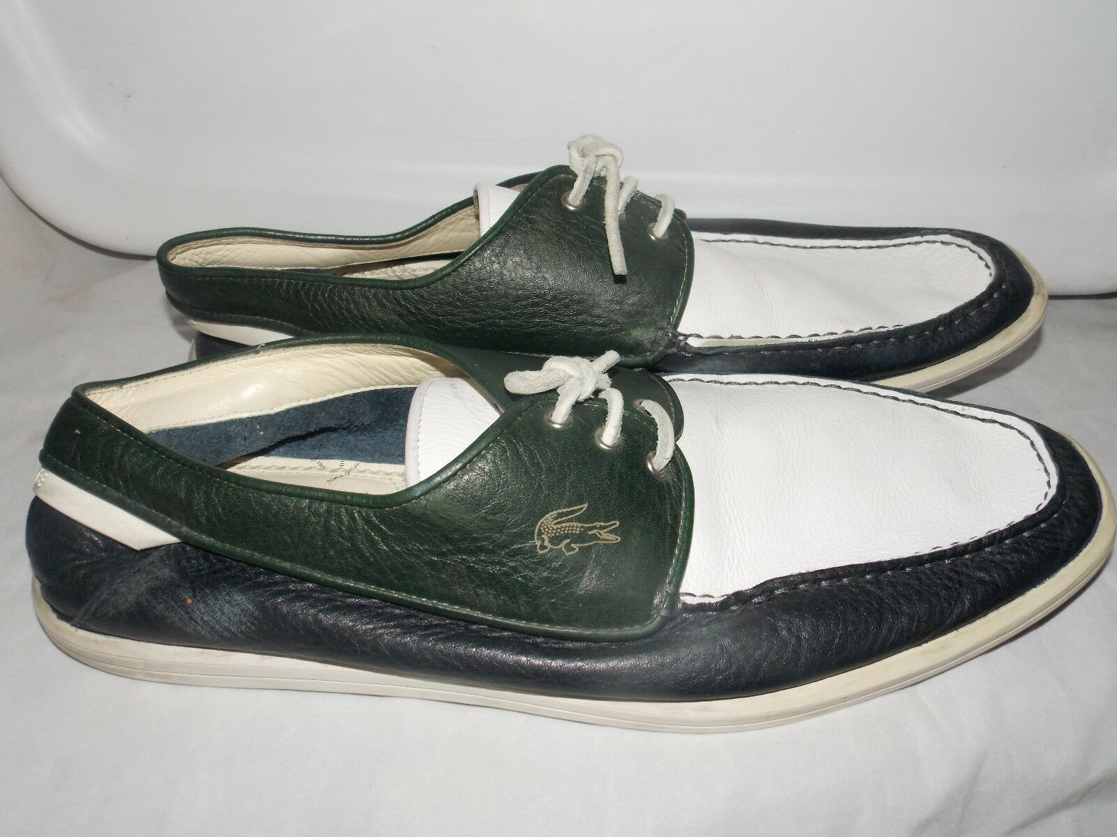 Lancoste Paris Green bluee White Mens Loafers 13 Used