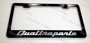"/""MASERATI/"" LASER Style Black Stainless Steel License Plate Frame W// Bolt Caps"