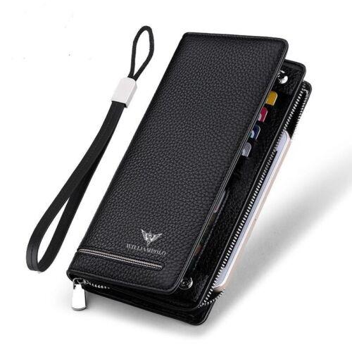 William POLO Men/'s Genuine Leather Wallet Long Purse Card Holder Zipper Rocker L