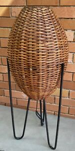 VIntage Woven Wicker Cane Pod Iron Tripod Lamp Mid Century Modern Retro Lighting