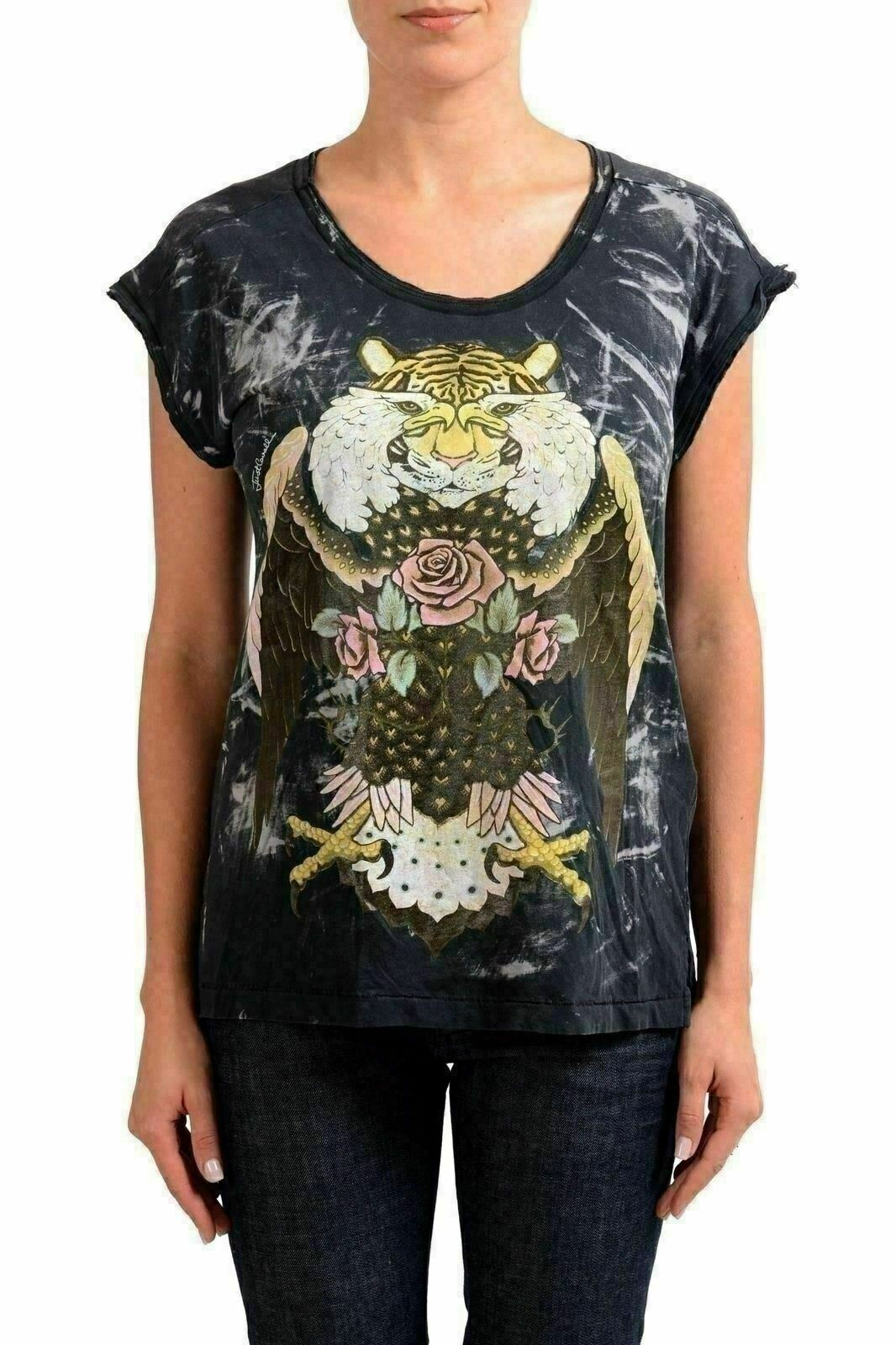 Just Cavalli Mehrfarbig Grafik Damen Kurzärmlig Damen T-Shirt US S It 40