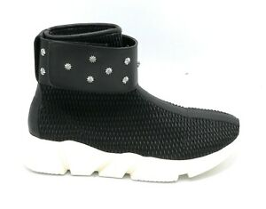 Studs Strap Fabric Boot Hadel 1sn511 on Ankel Stretch Svart Leather qzxfRv
