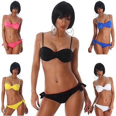 Push-Up Bandeau Träger Bikini Strass Strand Bademode Beachwear Swimwear Größe