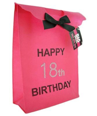 Happy 18th Birthday Glitzy Gift Present Bag In HOT PINK Black Diamante Stones