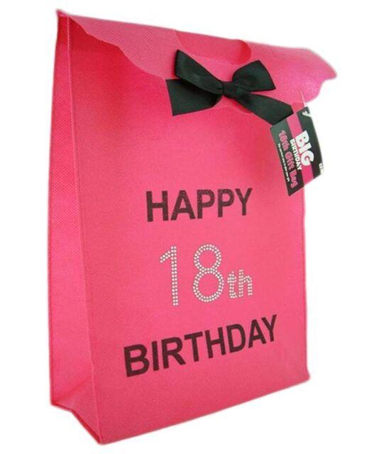 Happy 18th Birthday Glitzy Gift Present Bag In HOT PINK Black Diamante Stones