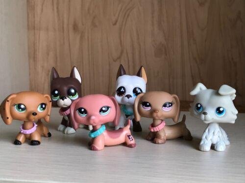 6x Littlest Pet Shop LPS Dachshund #932 #2046 Great Dane Grey Collie  Dog Toy
