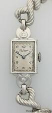 Vintage Art Deco Jules Jurgensen 14k White Gold Diamond 17J Ladies Wrist Watch