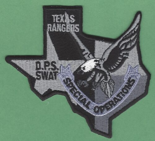 TEXAS RANGERS PUBLIC SAFETY SPECIAL OPERATIONS SWAT TEAM POLICE PATCH GRAY