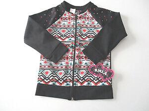 RMLA-Athletic-Jacket-Sz-5-Girl-039-s-Black-Aztec-Sweatshirt-Zip-Front-NWT