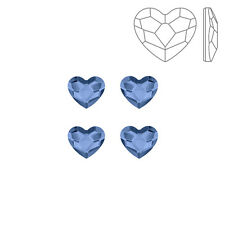 Swarovski 2808 Hotfix Flatback Heart Denim Blue 6mm Pack of 4 (K72/6)