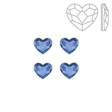 Swarovski 2808 Hotfix Flatback corazón Denim Azul 6mm Paquete de 4 (K72/6)
