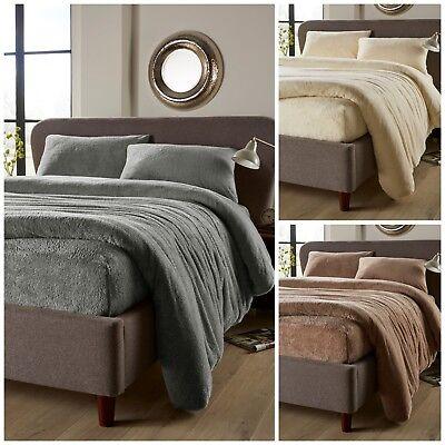 Teddy Bear Fluffy Fleece Duvet Set Quilt Cover Fitted