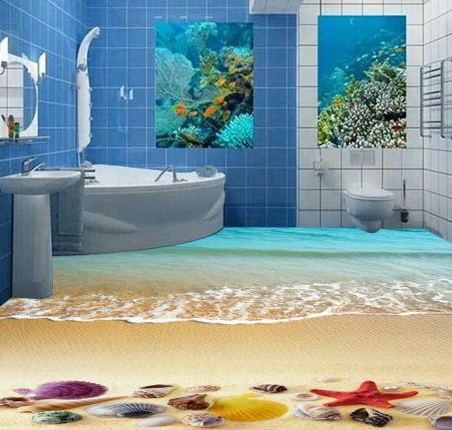 3D Sandy Shell Calm Wave Floor WallPaper Murals Wall Print Decal 5D AJ WALLPAPER