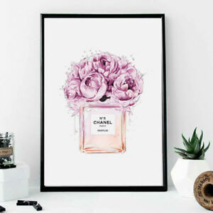dad1b2ce9d87 Wall print A4 art no5 Chanel perfume bottle with pink flowers ...