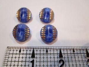 Wonderful Lg Czech Glass /& Rhinestones Flower Shank Button 32mm  Blue /& Gold