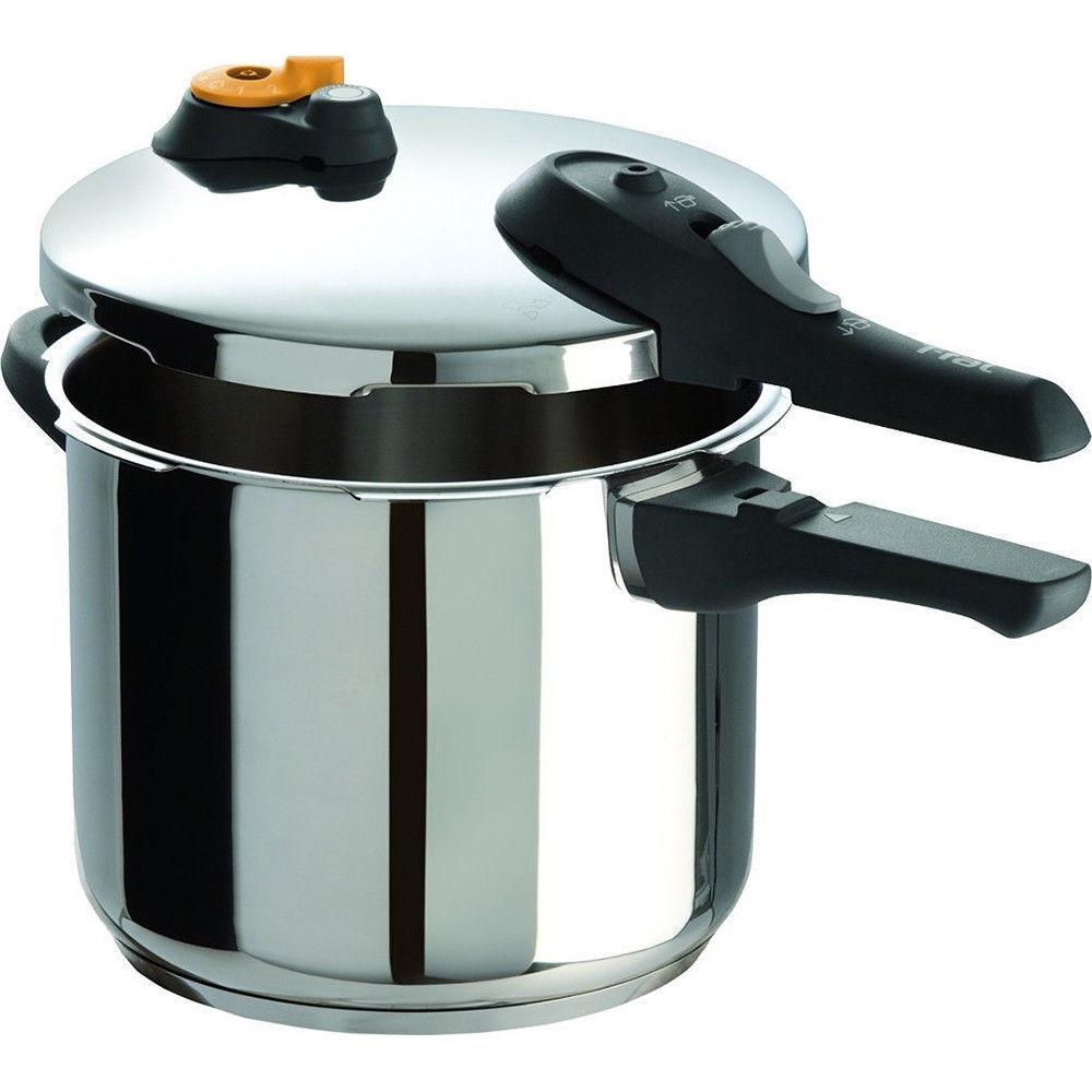 T-Fal Cuisinière Autocuiseur 6 Qt D'épaisseur De Base Un Panier vapeur en acier inoxydable