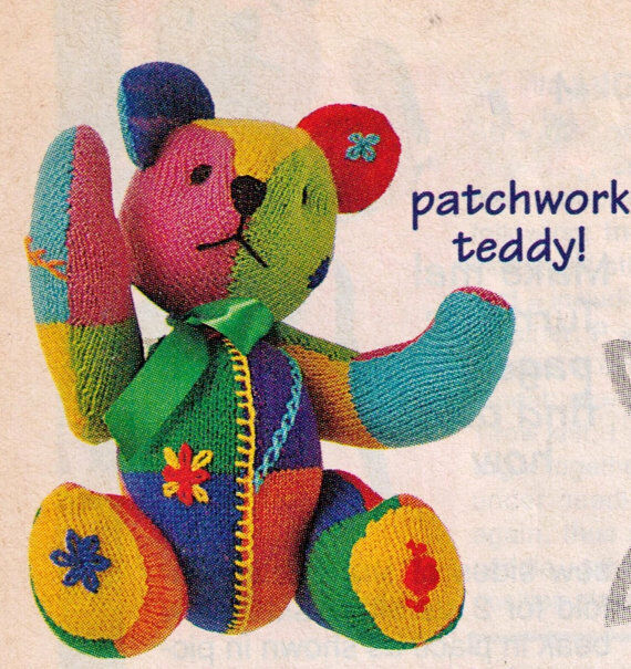 Patchwork Jointed Teddy Bear DK Toy Knitting Pattern 99p