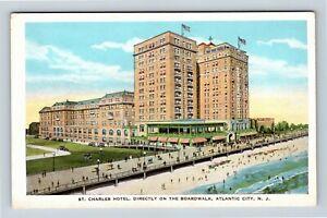 Atlantic City NJ, St Charles Hotel, Boardwalk, Vintage New Jersey Postcard