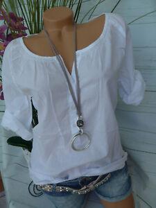 34-48 Kurzarm weiß Wasserfallkragen 831 Corley Shirt Damen Kurzarmshirt Gr