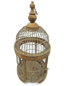 Vintage-Wood-Custom-Small-Rounded-Globe-Style-Single-Bird-Cage-Decorative-Used