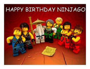 A4 cartoon happy birthday ninjago edible fondant wafer fairy cup cake toppers ebay - Ninjago dessin anime ...