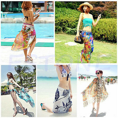 Women Sexy Chiffon Wrap Pareo Dress Sarong Beach Swimwear Bikini Cover Up Scarf