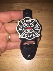 Firefighter-Cast-Iron-Beer-Bottle-Opener-Americana-BBQ-Patina-Vintage-Style-Ex