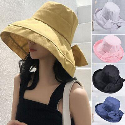 Women/'s Anti-UV Wide Brim Summer Beach Cotton Bucket Sun Protective Hat