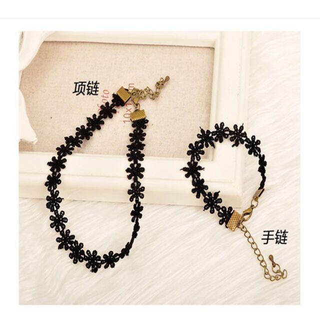 Tattoo Fashion Hollow Lace Jewelry Set Short Collar Necklace Bracelet Sets