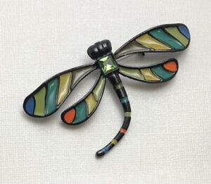 Unique-vintage-style-Large-Dragonfly-brooch-in-enamel-on-metal