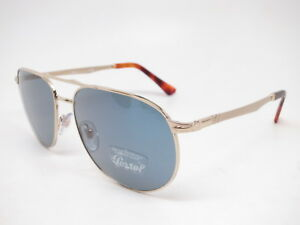 0b2309a1f89657 Persol PO 2455-S 1076 56 Gold with Light Blue Sunglasses 2455S 60mm ...