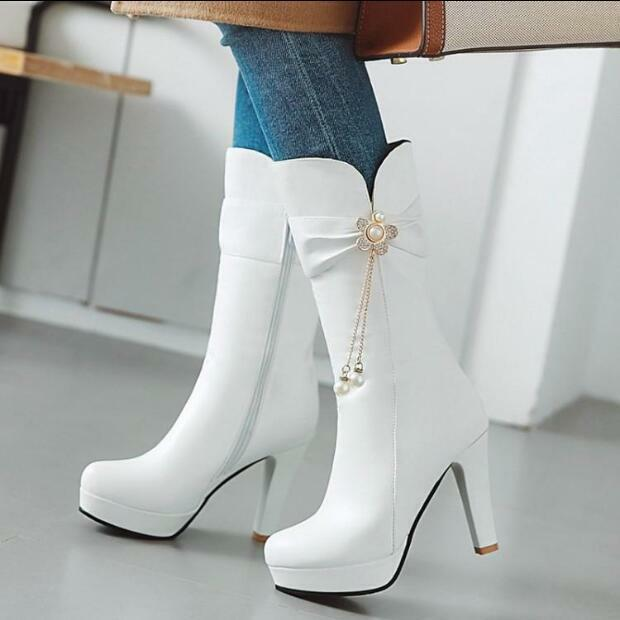 Womens Mid Calf Calf Calf Boots Pearls Rhinestones Chunky High Heels shoes Pumps Party Zip 17918b