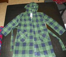 kkgrp- NWT Komar Kids Boys Dk Green & Navy Plaid Hooded Robe sz XS 5-6