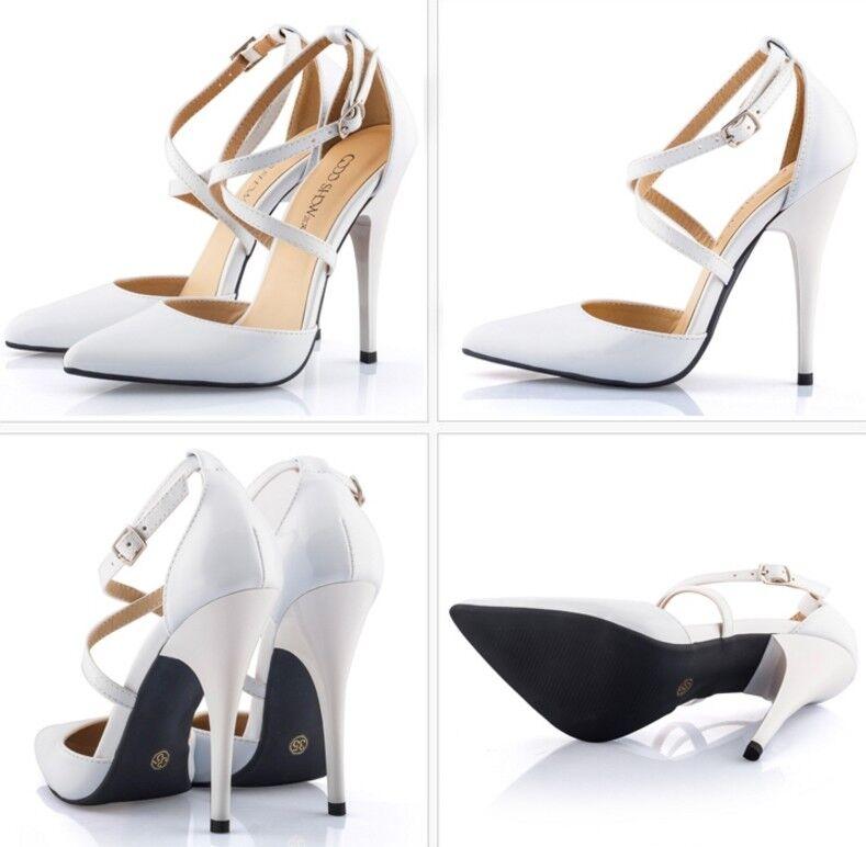 Para mujer Tacones Altos Correa de Cruz Hebilla Zapatos Charol Puntera en Punta Zapatos Hebilla Stiletto b2ce33