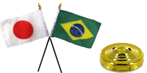 "Japan Japanese /& Brazil Brazilian Flags 4/""x6/"" Desk Set Table Gold Base"