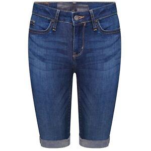 Womens-Ladies-Casual-Knee-Length-Denim-Holiday-Shorts