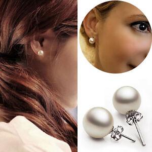 1-Paire-Femmes-Elegant-Argent-Plaque-Perle-Blanc-Clou-Boucle-d-039-oreille-Bijoux