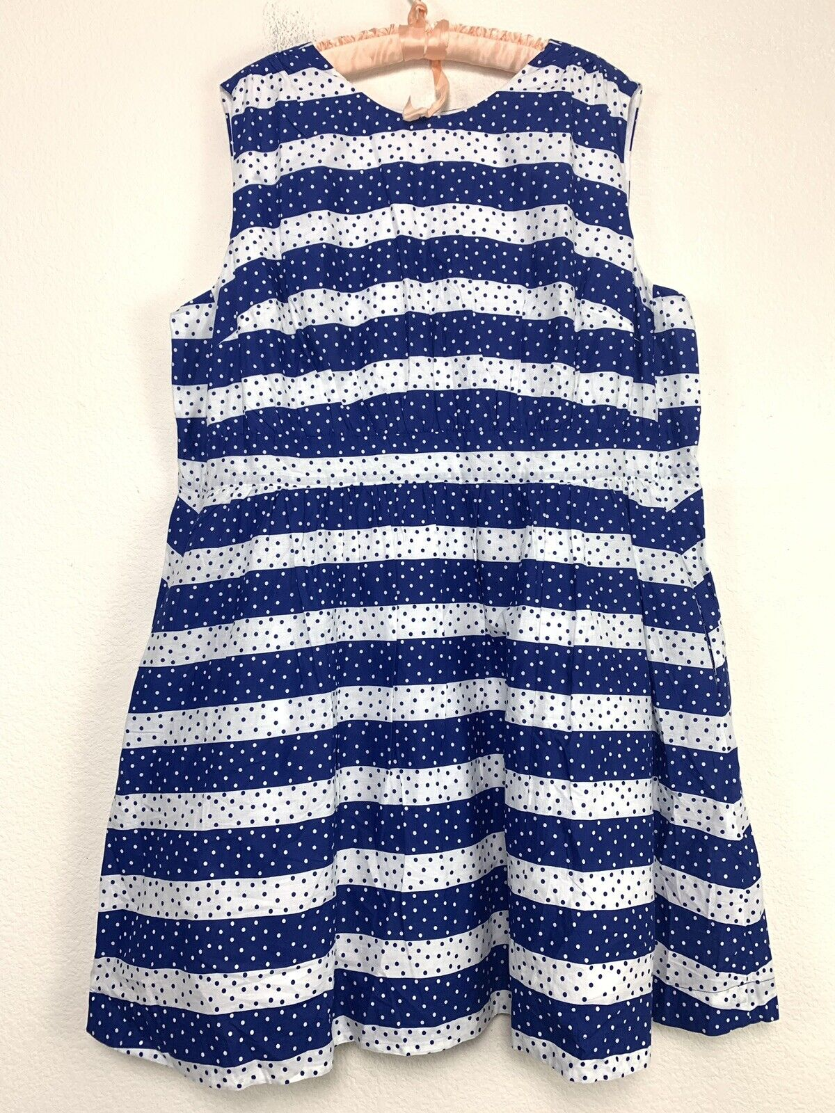 Emily And Fin Modcloth Too Much Blau Weiß Fun Dotted Stripe Dress Retro 3x NEW