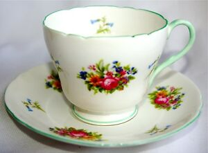 Rose-Floral-Blue-Bell-Green-by-Shelley-Footed-Cup-amp-Saucer-Bone-China-England