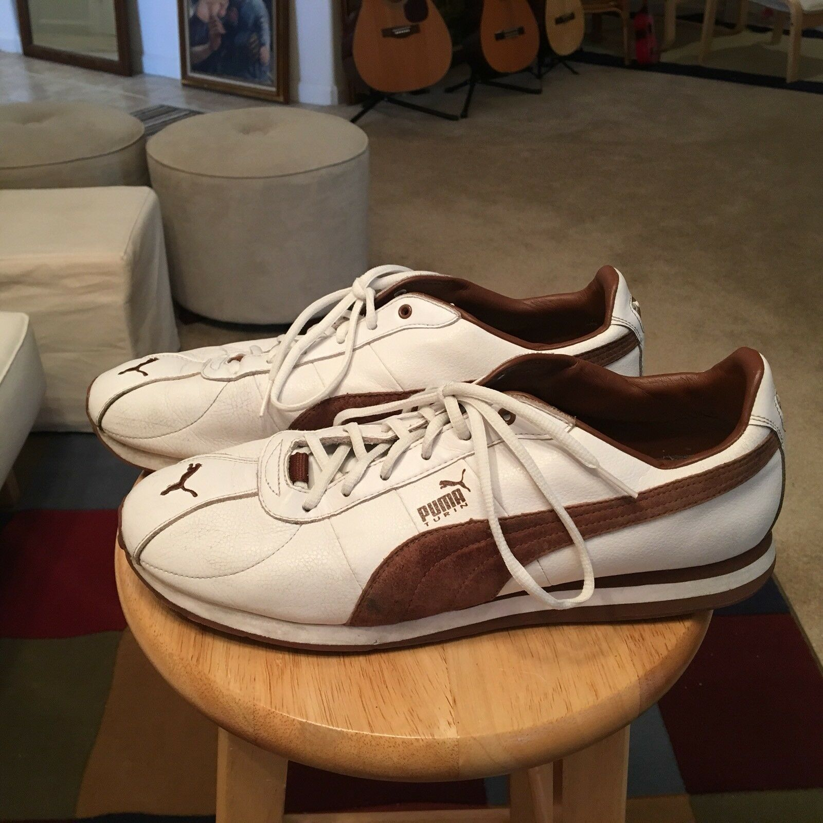 Vintage Puma TURIN White/Brown Trim Men's US13 Leather Athletic Sneakers Shoes