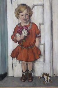 Gemälde Mädchen mit Kleid und Blumen Signiert