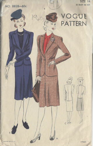 "91 1940s Vintage VOGUE Sewing Pattern B32/"" SUIT SKIRT /& JACKET"