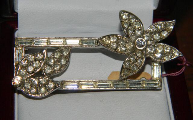 Vintage Rhodium Plated Sparkling Rhinestones Baguette Flower Brooch Pin