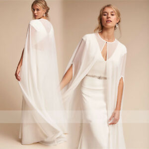 Women s Long Chiffon Cape White Ivory Wedding Jacket Cloak Bridal ... 9e77af9189