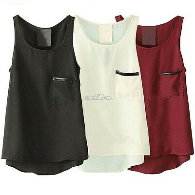 New Women Sleeveless Asymmetric Hem 3 Colors Loose Casual Leisure Tank Tops S0BZ