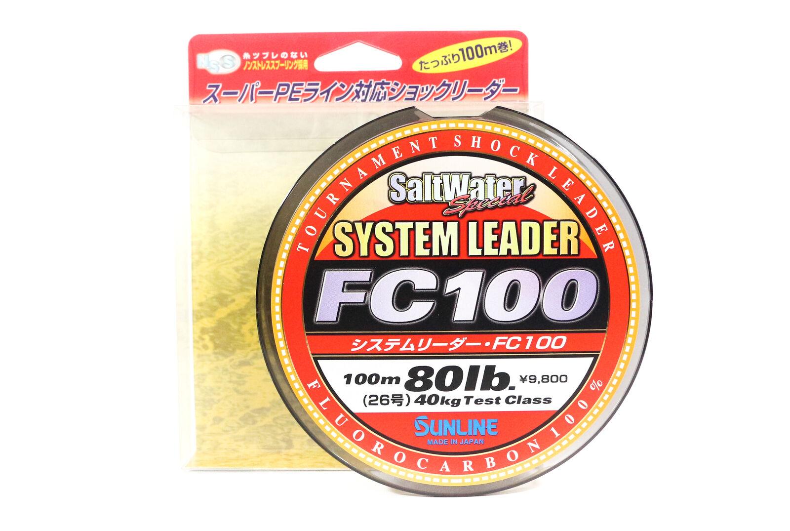 Sunline System 100 Fluoroautobon Shock Leader Ligne 100m 80lb 1925