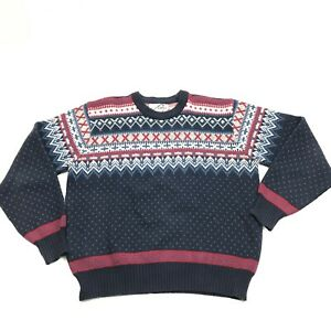 VINTAGE-Steep-Slopes-Nordic-Fair-Isle-Sweater-Size-Large-Crew-Neck-Pullover-90-039-s