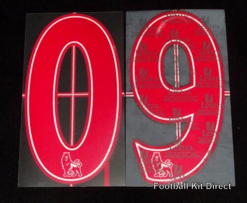 Premier League 2007//12 Lextra Senscilia Football Shirt Numbers 0-9 red
