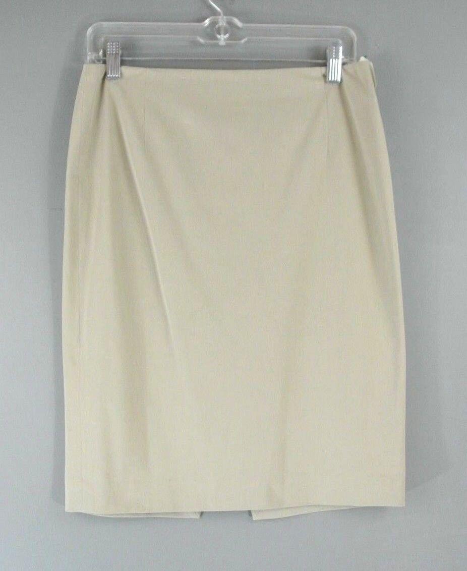 Elie Tahari Straight Fit Pencil Skirt 4 Beige Wear To Work Cotton Blend