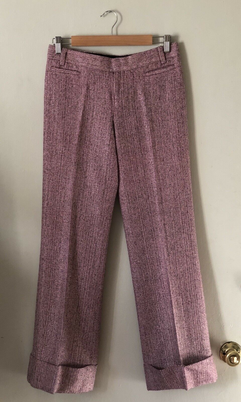 Laundry By Shelli Segal Pink Tweed Wide Leg Cuffed Trouser Pants Size 2